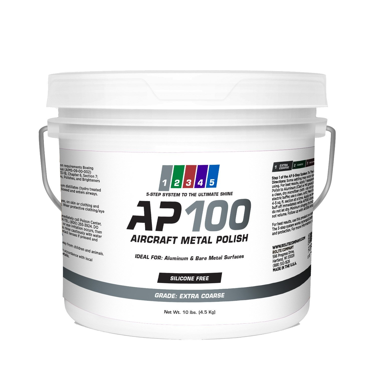 AP100 Aircraft Metal Polish (10lb) - Extra Coarse - for Airplane Aluminum & Bare Metal Surfaces, Brightwork, Meets Boeing & Airbus Requirements