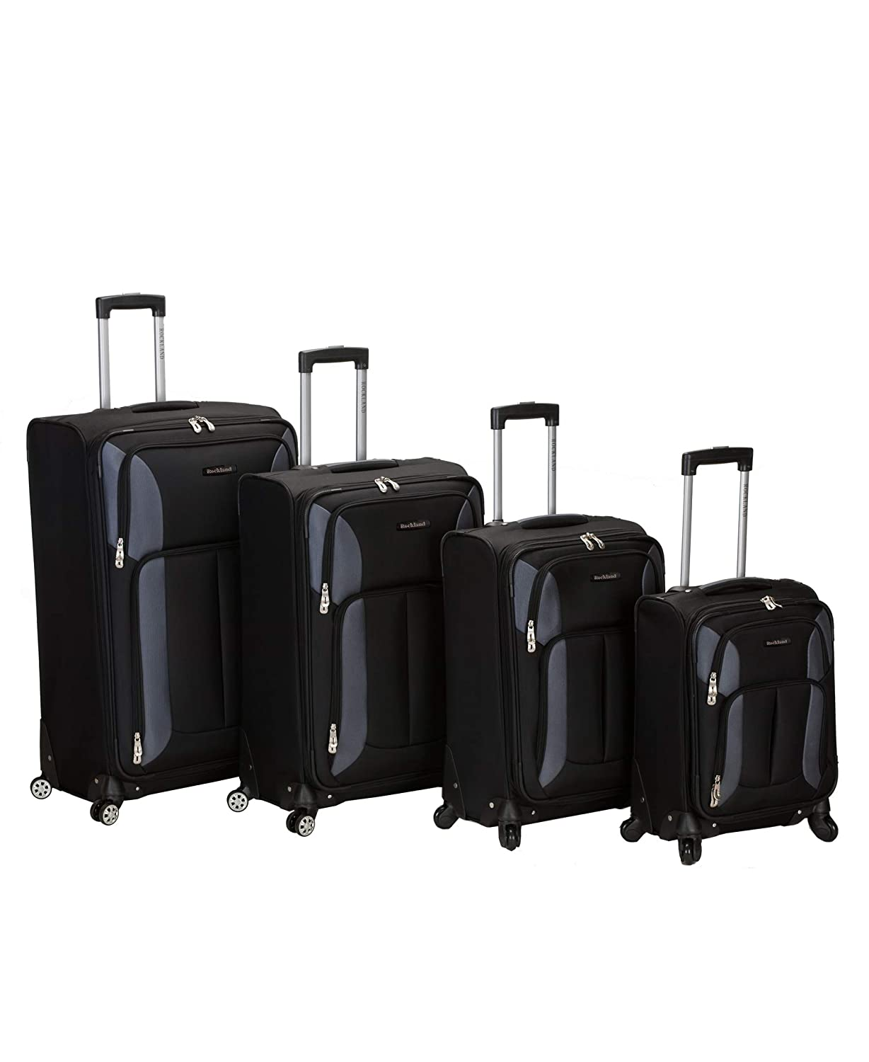 809bcf3f61d9 Rockland Luggage Impact Spinner 4 Piece Luggage Set, Black, One Size
