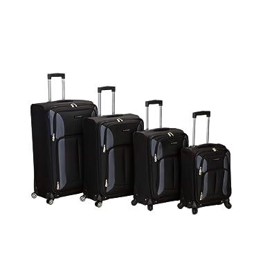 Rockland Luggage Impact Spinner 4 Piece Luggage Set, Black, One Size