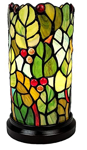 Amora Lighting Tiffany Style Accent Mini Lamp 10 Tall Stained Glass Green Yellow Red Berries Leafs Floral Vintage Antique Light Decor Nightstand Living Room Bedroom Gift AM269ACCB, Multicolor