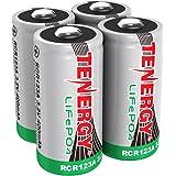 4 pcs Tenergy RCR123A 3.0V 400mAh LiFePO4 Rechargeable Batteries
