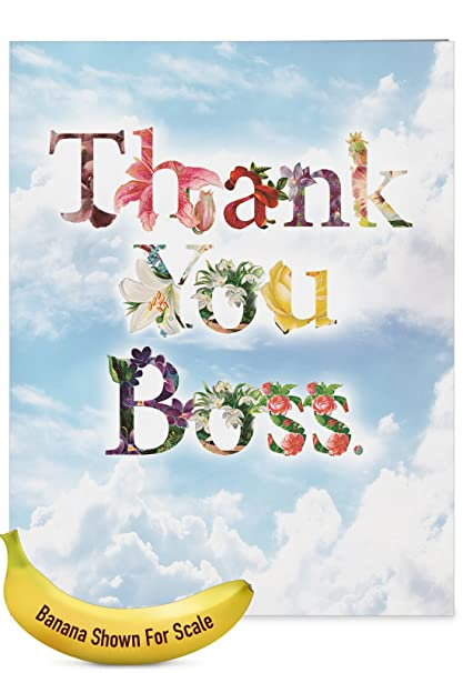 Amazon j2359abyg jumbo boss thank you card thanks a bunch j2359abyg jumbo boss thank you card thanks a bunch featuring flower filled fonts that say m4hsunfo