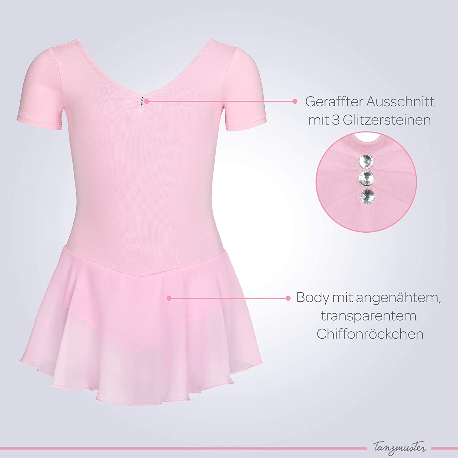 tanzmuster girls/´ short-sleeved ballet leotard Betty with chiffon skirt and rhinestones made of soft and durable cotton blend beautiful dance dress for children in many colors