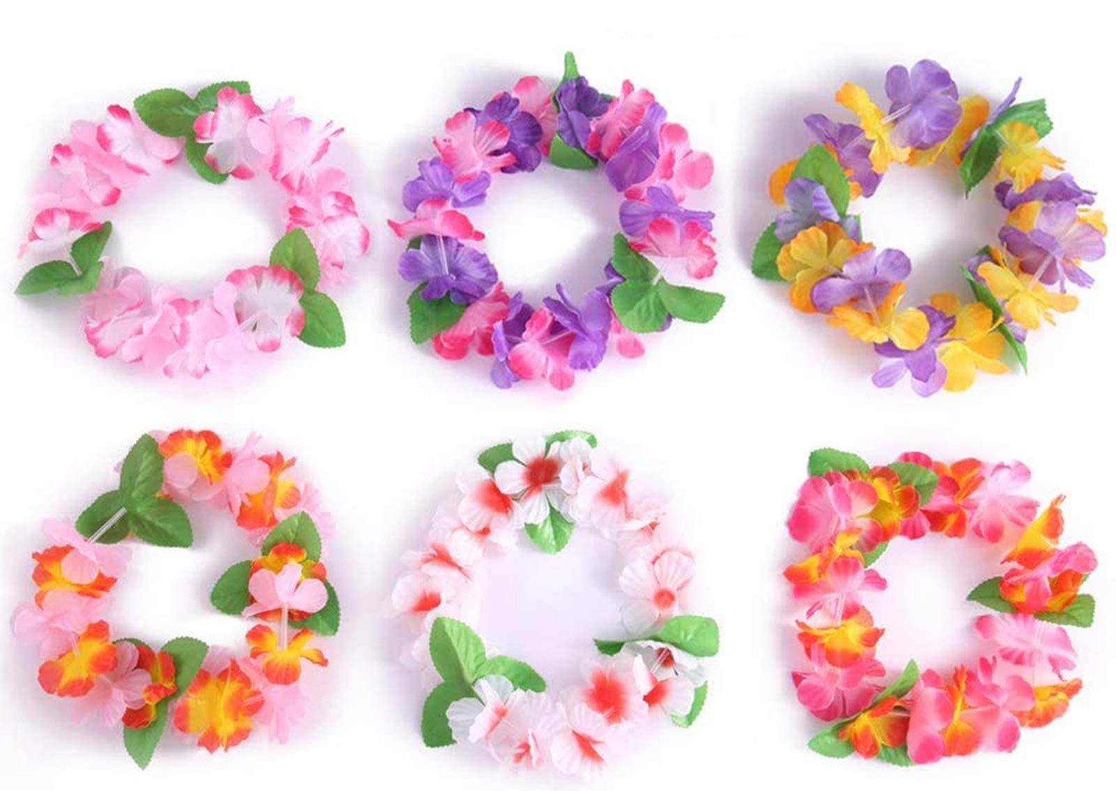 jollylife 40PCS Luau Tropical Hawaiian Headband Headpiece Leis- Summer/Tiki/Pool Mahalo Flower Party Decorations Favors Supplies