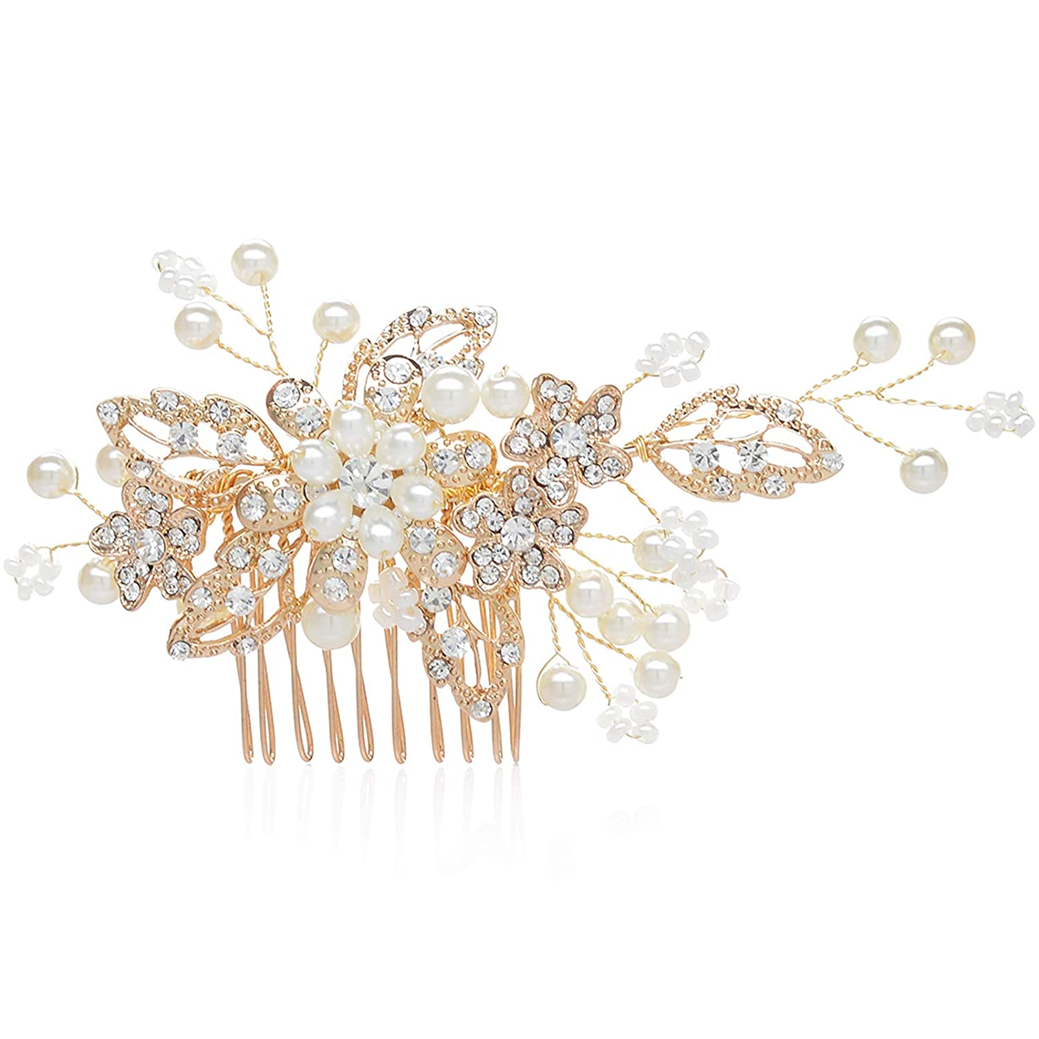 SWEETV Handmade Wedding Hair Comb Clip Pearl Hairpin Rhinestone Combs Bridal Hair Accessories Gold SVSFS140058