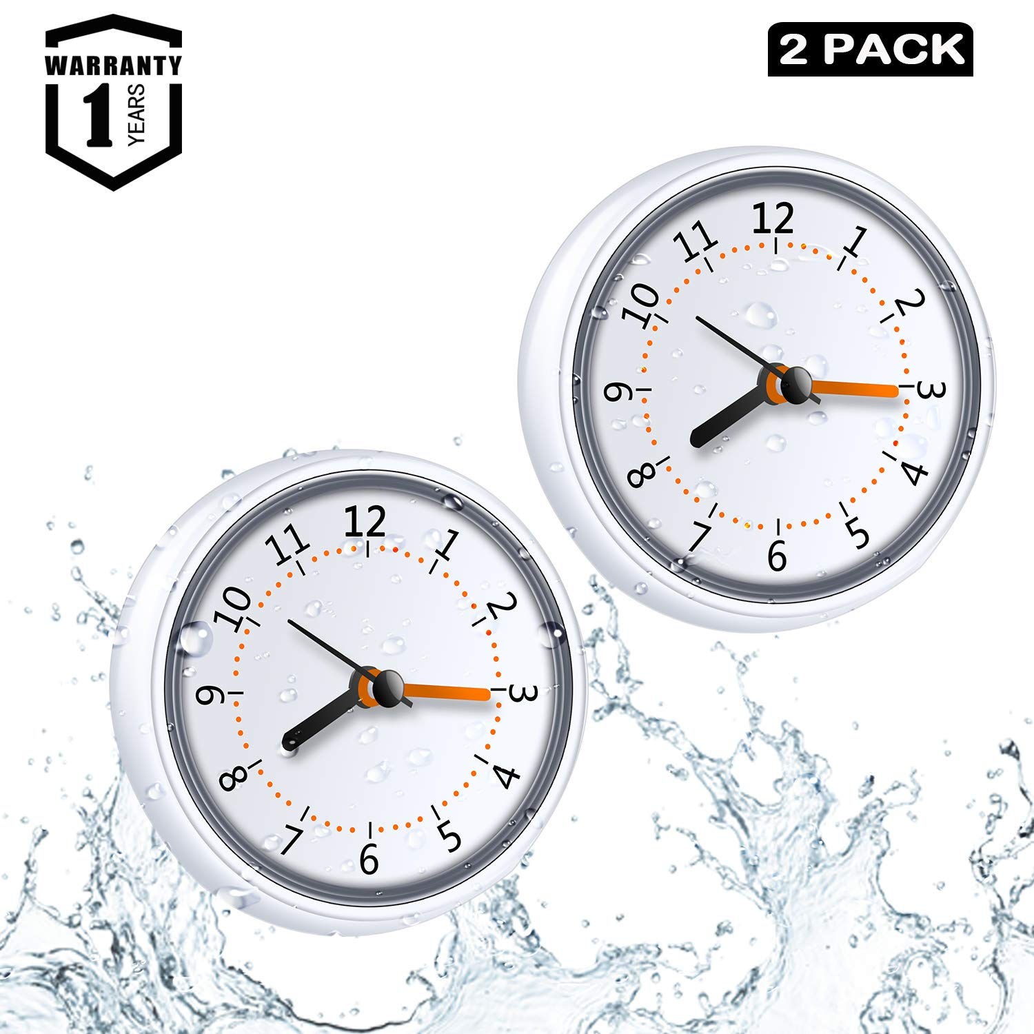 LXSZRPH Mini Shower Clock Waterproof IP24 Wall Clock Suction Cup Bathroom Clock Acrylic Face Suction Clock for Shower Washroom Kitchen (2pack) by LXSZRPH