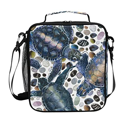 5b59d5c15b Image Unavailable. Image not available for. Color: JOYPRINT Lunch Box Bag  Watercolor Sea Ocean Turtle Lunchbox Insulated ...