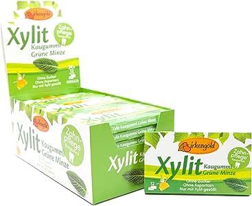 Xylitol Goma de mascar menta verde, chicles dentales, 100% sin azúcar, caja de 24 blisters (12 piezas por blister), sin aspartamo, vegetariana, amigable con los dientes: Amazon.es: Alimentación y bebidas