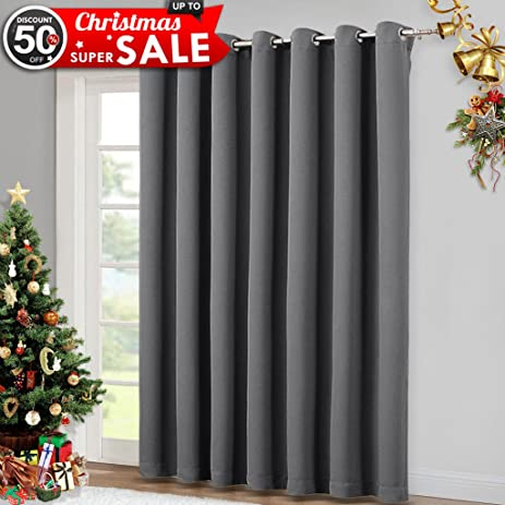 Patio Sliding Glass Door Curtain   Wide Blackout Curtains, Keep Warm  Draperies,Grey Sliding