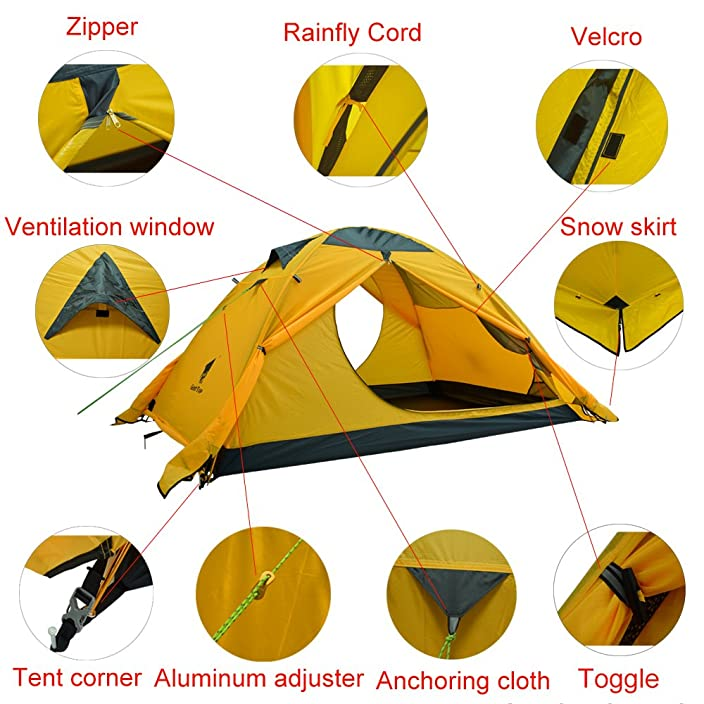 GEERTOP 2-person 4-season Backpacking Tent For Camping Hiking Travel Climbing