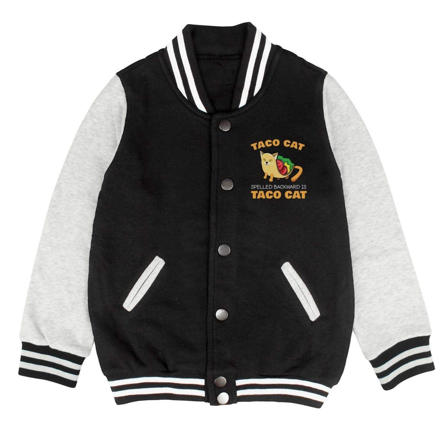 Taco Cat Spelled Backwards is Taco Cat Funny Taco Baseball Pullovers Unisex Cool Outerwear Jackets for Kids