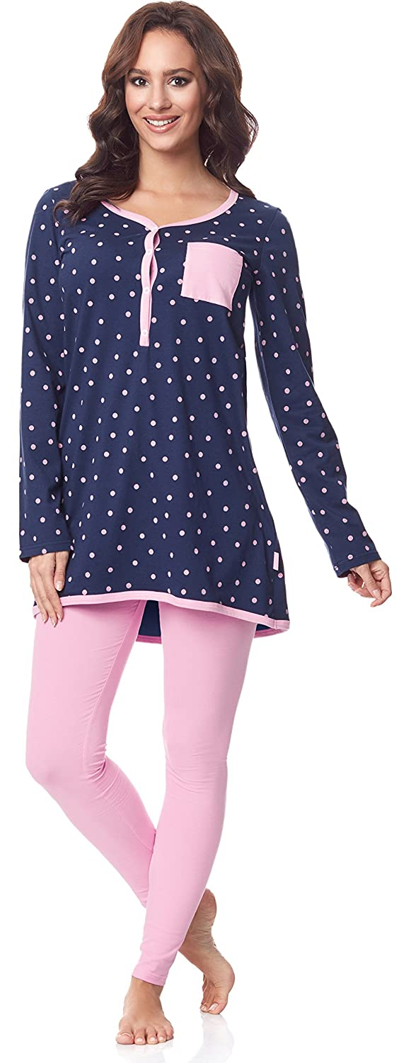 Be Mammy Damen Langarm Pyjama mit Stillfunktion BE20-178