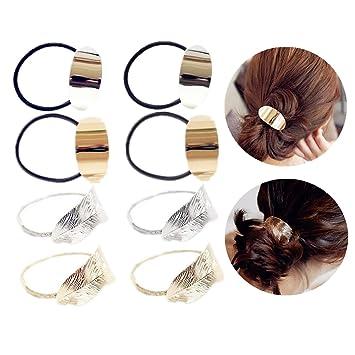 Women Black Gold Hair Band Rope Rings Elastic Ponytail Holder Hair Accessories