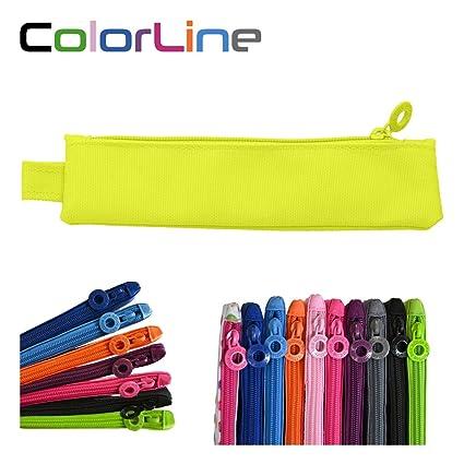 Colorline 59411 - Portatodo Mini, Estuche Multiuso para Viaje, Material Escolar, Neceser y Pequeños Objetos, Color Amarillo Fluor, Medidas 20 cm x 5 ...