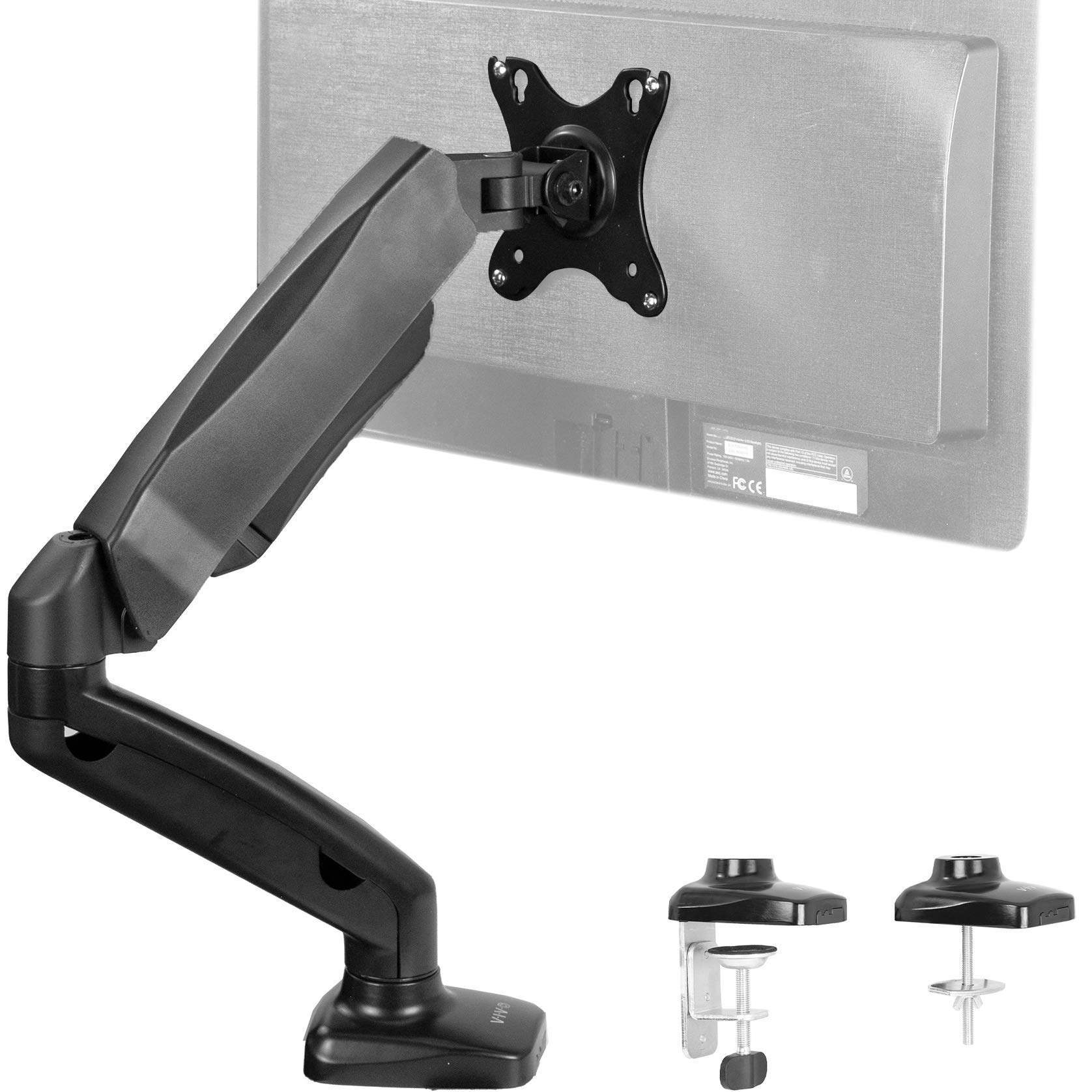 VIVO Height Adjustable Monitor Arm - Single Counterbalance Desk Mount for Screens up to 27 inches | Fully Articulating Black Pneumatic Universal VESA Stand (STAND-V001O) by VIVO