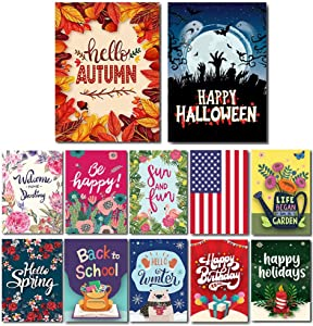 "Lovely Flag Seasonal Garden Flag Set of 12 | 12.5"" x 18"" 