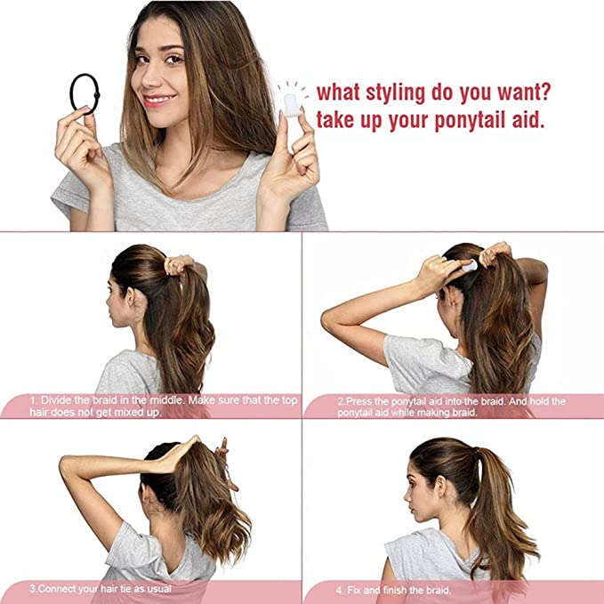 Amazon.com   Ponytail Holder Hair Bump Insert Thick Hair Ties Crystal  Transparent Filled Ponytail Hairstyle Aid Braid Help  0f57fa71702