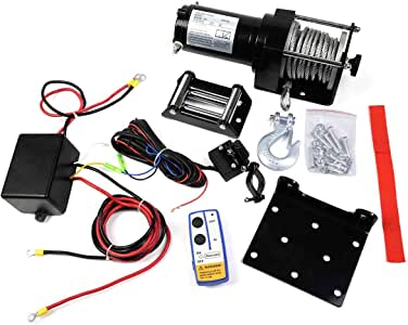 Safstar DC 12V Electric Recovery Winch Truck SUV Car Wireless Remote Control Kit (3000lbs)