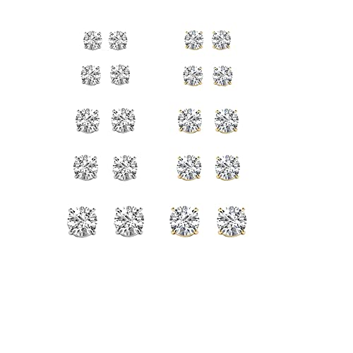 IGI Certified De Couer Diamond Stud Earrings for Women set in 14K Gold Clarity I-J, I2