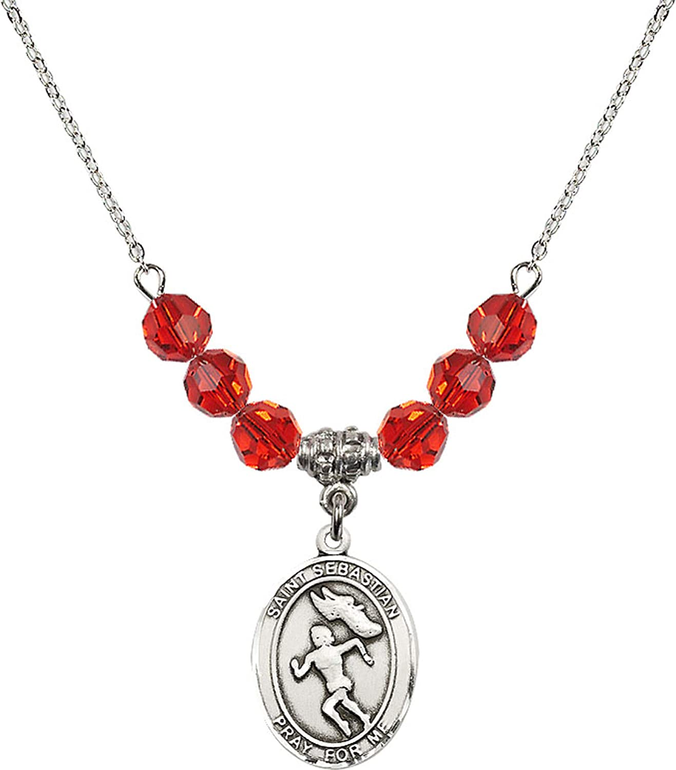 Bonyak Jewelry 18 Inch Rhodium Plated Necklace w// 6mm Red July Birth Month Stone Beads and Saint Sebastian//Track/&Field-Women Charm