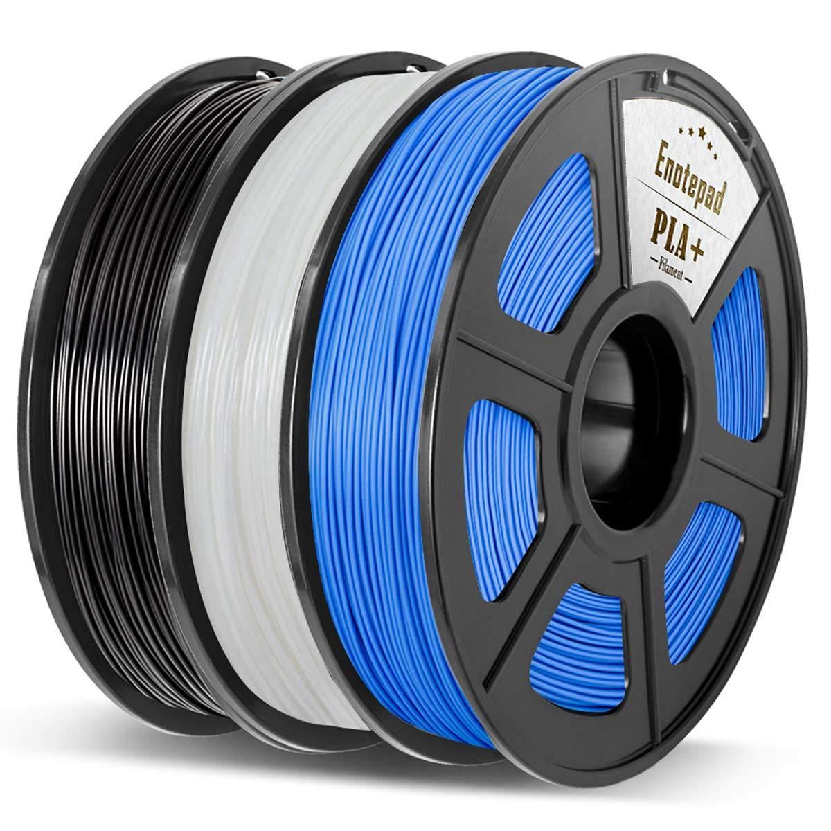 3D Printer Filament,0.5KG*3 Spools ,Dimensional Accuracy 1.75mm+//-0.02mm,Filament 3D Printing Materials,Suit for most 3D Printer//3D pen,Enotepad Black+White+Black PLA+ PLA 3.3lbs