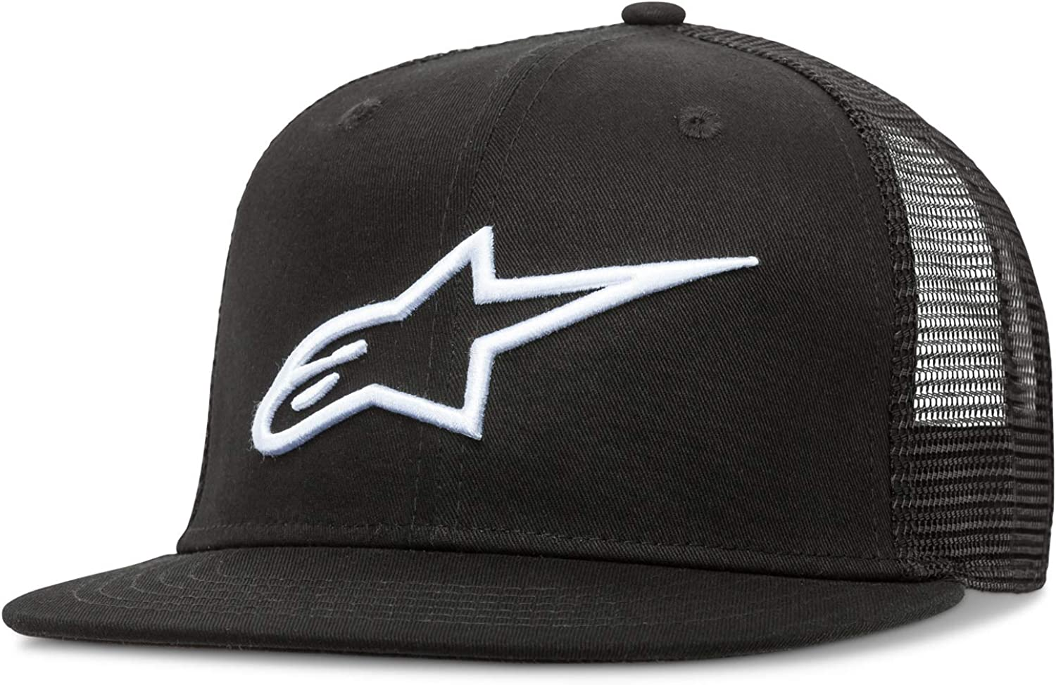 Alpinestars Men's Bill Snap Back Flat Embroidered Logo Flexfit Hat, Corp Trucker Black, One Size: Clothing