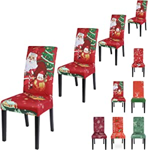 SearchI Chair Covers for Dining Room,Stretch Seat Slipcovers,Chairs Cover Protectors,Washable for Parson Armless Chairs,Home Decor Kitchen Restaurant Christmas Decoration Xmas Party 4 Pack-Santa Claus