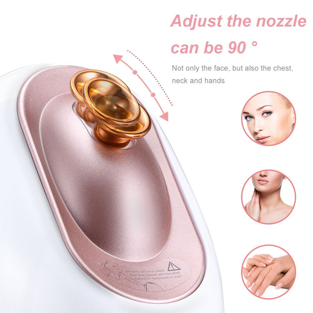 Openuye Facial Steamer, Nano Ionic Hot Mist Moisturizing Face Humidifier Pores Cleanse Beauty Skin Care SPA Constant Temperature Ozone-free Nano Sprayer with Aromatherapy Basket