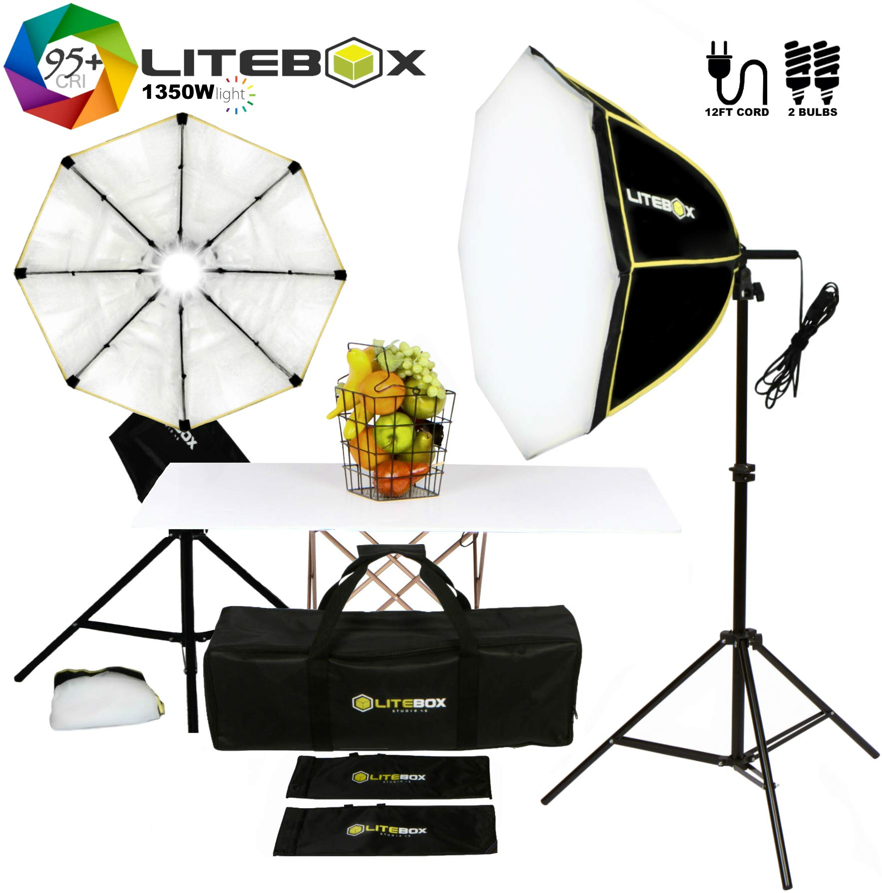 LITEBOX Photography Lighting Kit in a Box | Dual Softbox Lights & Stands for Professional Photo Video Lighting | 5500K (95+ CRI) by LiteBox