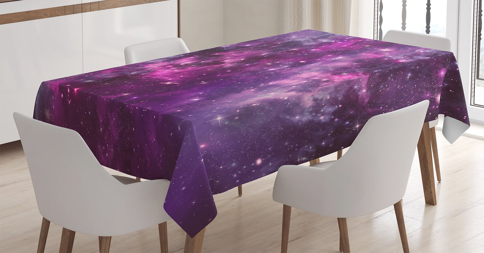 Ambesonne Purple Decor Tablecloth, Nebula Gas Cloud Deep Dark in Outer Space with Star Clusters Galaxy Infinity Solar Sky Print, Rectangular Table Cover for Dining Room Kitchen, 52x70 Inches, Purple
