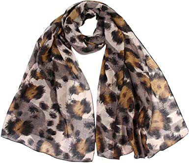 100/% PASHMINA FLOWER LEOPARD PRINT DESIGN SCARF WRAP ALL SEASON BROWN GRAY