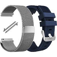 Muñequera para Samsung Gear S3 Frontier S3 Classic, AFUNTA flexible de acero inoxidable pulsera de Lazo magnética con pulsera de silicona correa Repuestos para S3 Sport Smart Watch – Plata, Azul