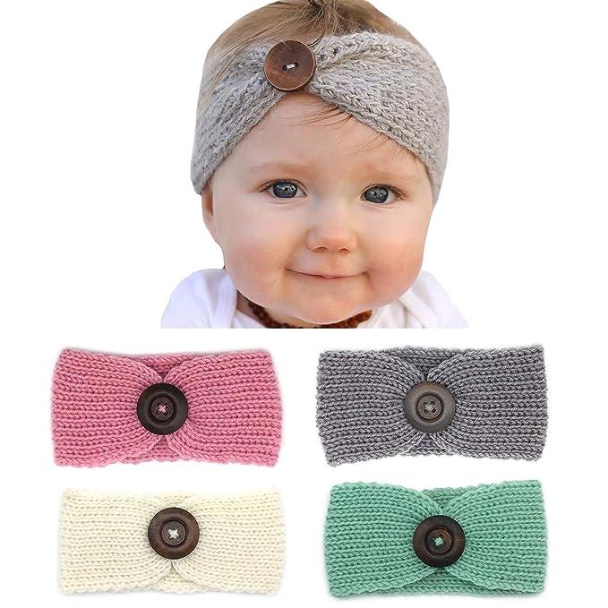 3a72d0e89 Elesa Miracle Baby Hair Accessories Baby Girl's Nylon Headband Knit Crochet  Turban Headband Winter Warm Headband