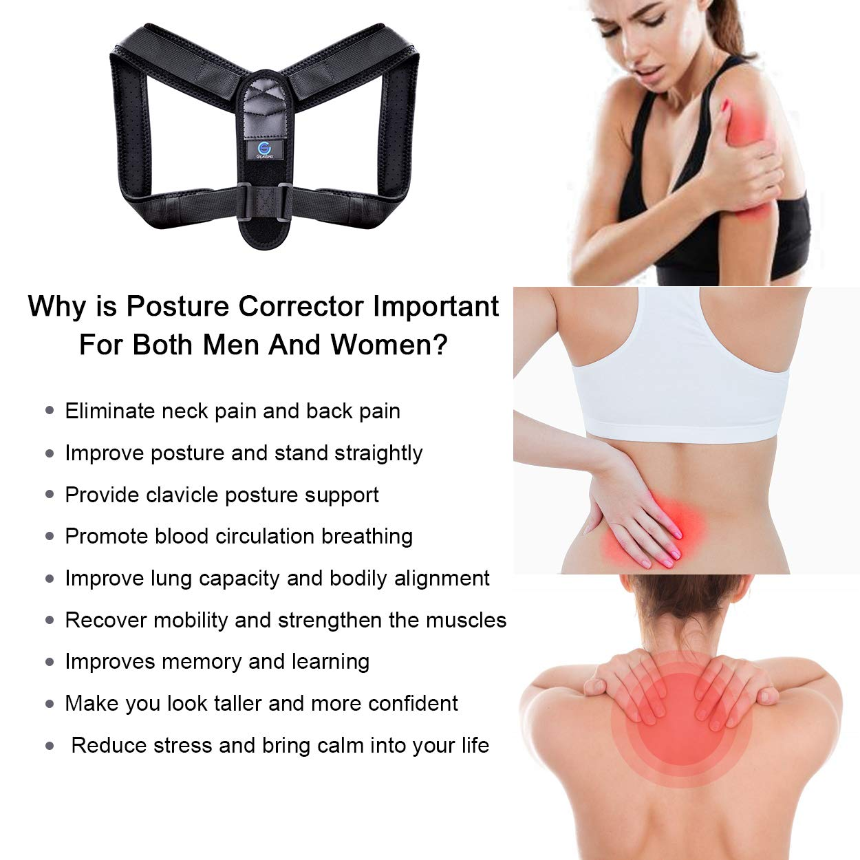 Posture Corrector for Women Men, Upper Back Brace for Clavicle Support, Adjustable Back Straightener and Providing Pain Relief from Neck, Back & Shoulder L
