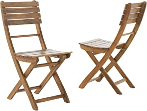 Christopher Knight Home Positano Outdoor Acacia Wood Foldable Dining Chairs, 2-Pcs Set, Natural Stained