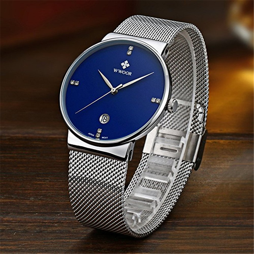 Amazon.com: WWOOR Mens Ultra Thin Mesh Band Stainless Steel Watches Male Elite Sports Date Wrist Watch Blue: Watches