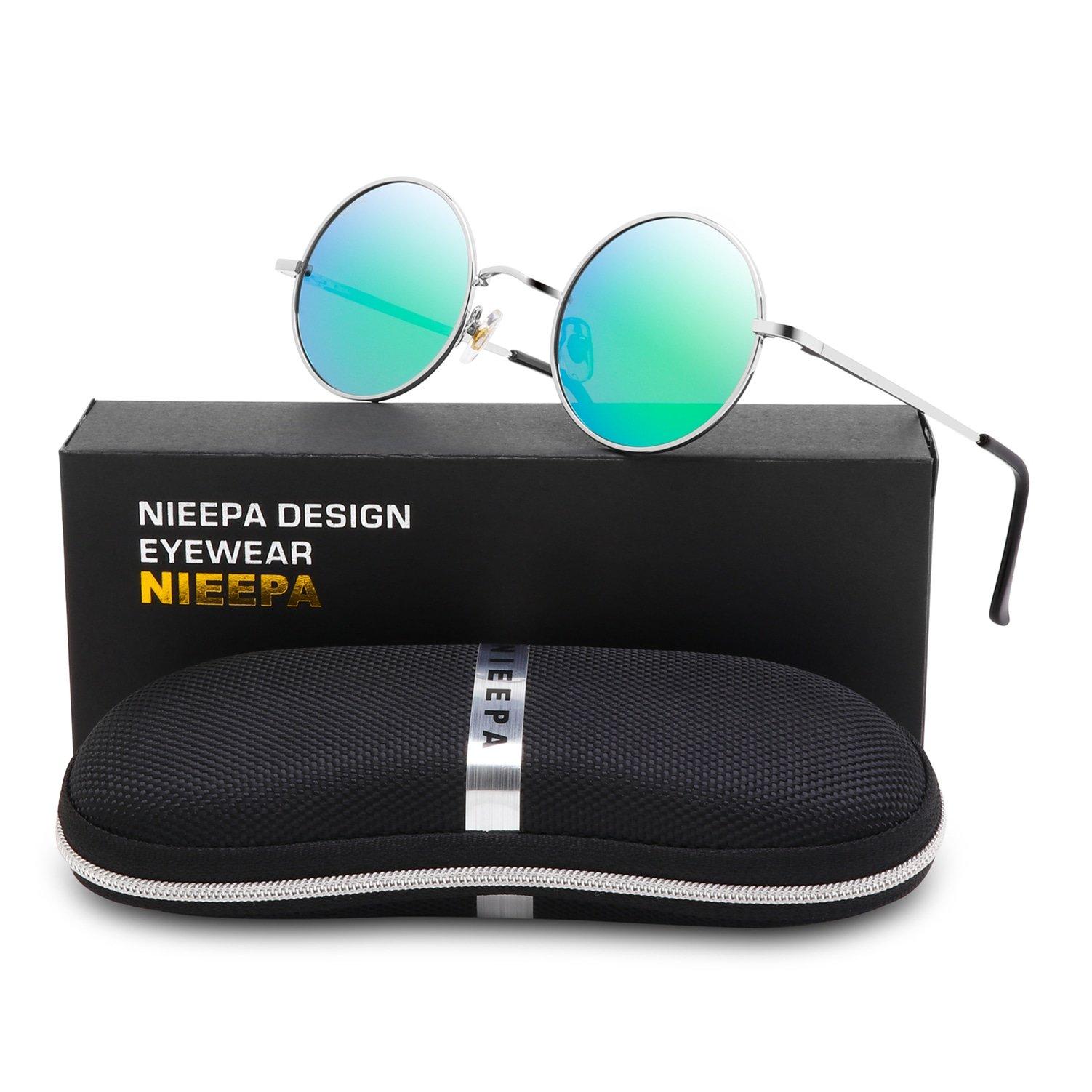 NIEEPA John Lennon Vintage Round Polarized Hippie Sunglasses Small Circle Metal Driving Sun Glasses (Green Lens/Silver Frame)