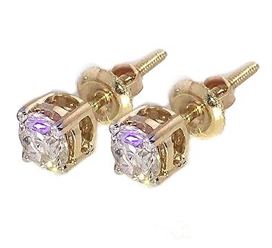 07fb956aa Amazon.com: 14K Gold Diamond Earrings 1/2ctw Studs Screw On Back 4mm ...