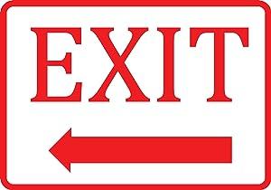 White Exit Left Arrow Sign - Aluminum Metal 2 Pack