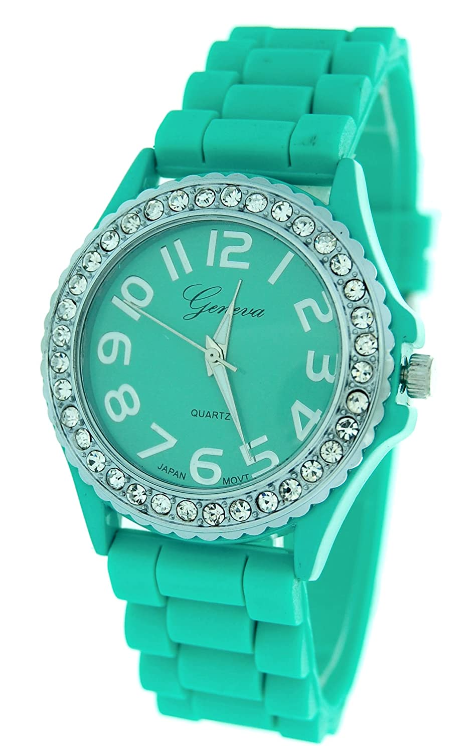 Amazon.com: Aqua Ceramic Style Silicone Gel Band Crystal Women\'s ...