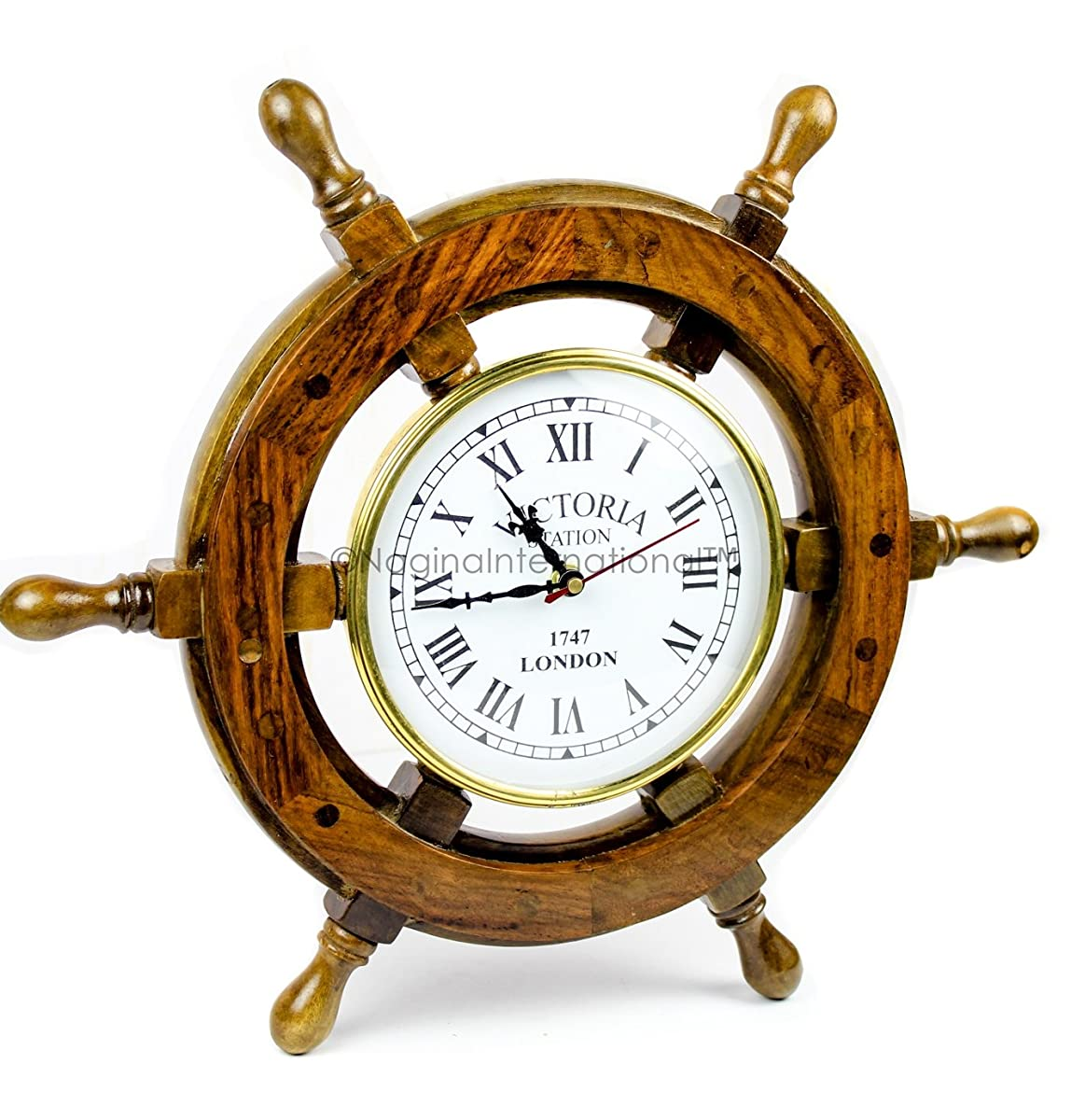 "Nagina International 16"" Hand Crafted Wooden Ship Wheel With 6"" Wall Decor Premium Vintage Roman Dial Times Clock 