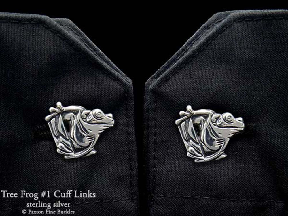 Tree Frog 1 Cuff Links in Solid Sterling Silver Hand Carved & Cast by Paxton
