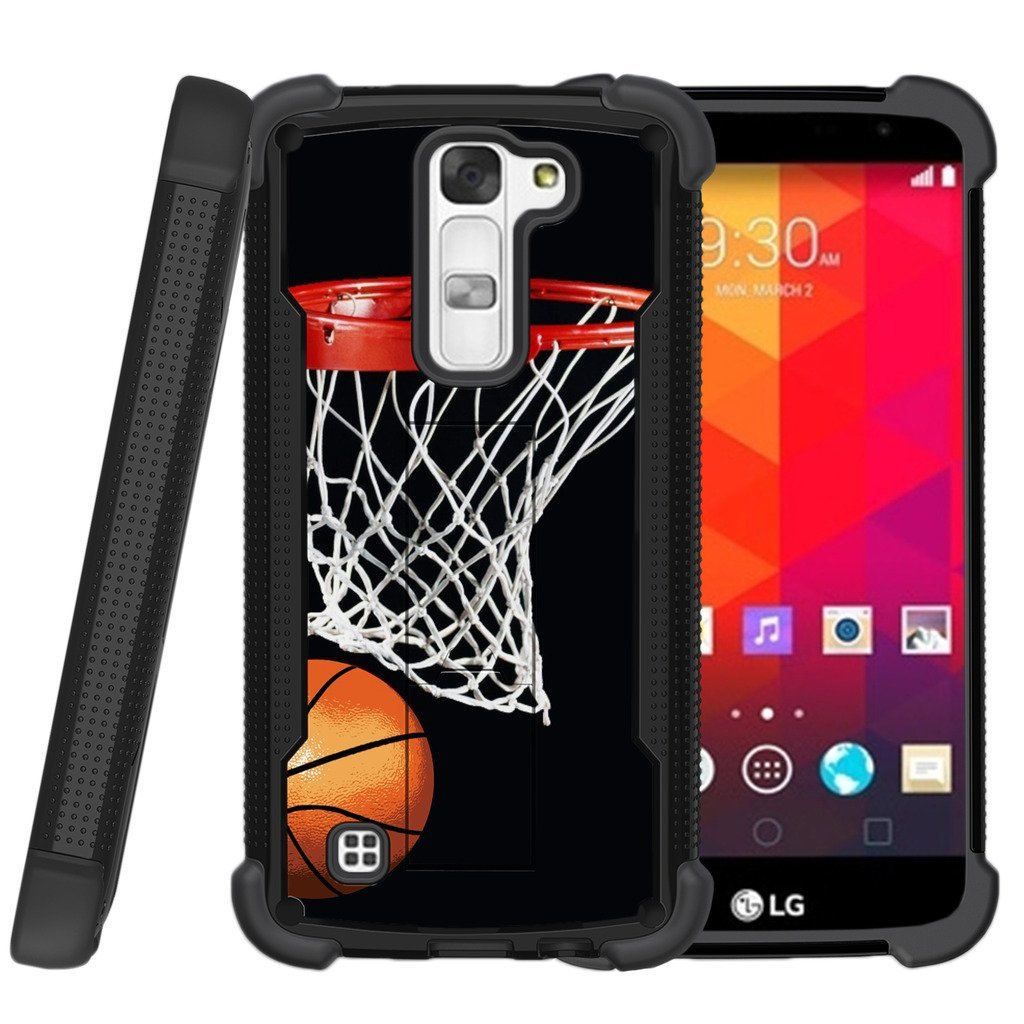 MINITURTLE Case Compatible w/ Miniturtle | LG K8 |LG Escape 3 |LG Phoenix 2 Case [Shockwave Armor]High Impact Two Layer Case w/ Stand + Tempered Glass Basketball Swish