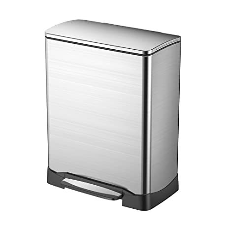 dual compartment trash can eko 929061 dual compartment trash can and recycler stainless steel 28 amazoncom