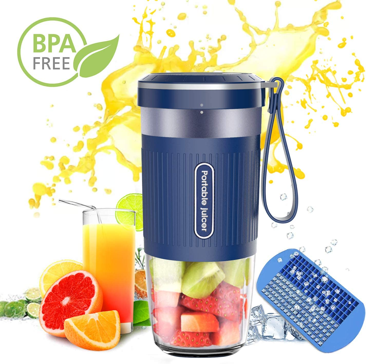 Portable Blender,AUZKIN Cordless Mini Personal Blender Small Smoothie Blender USB Fruit Juicer Mixer – Home Outdoor Travel Office – USB Rechargeable,IP68 Waterproof, BPA Free