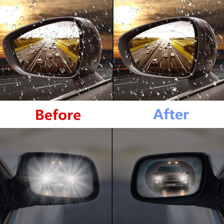 6 Piezas Pelicula Impermeable para Espejo Retrovisor Coche,Nano HD Antivaho Espejo Lluvia Coche,Antideslumbrante Transparente Protectora para Espejos Retrovisores Laterales Autom/óvil