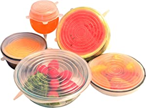 Silicone Stretch-Lids and Reusable Bowl-Covers (6, 6) Set of Various Stretchy Sizes - Stretchable to Cover Many Shapes of Food-Savers