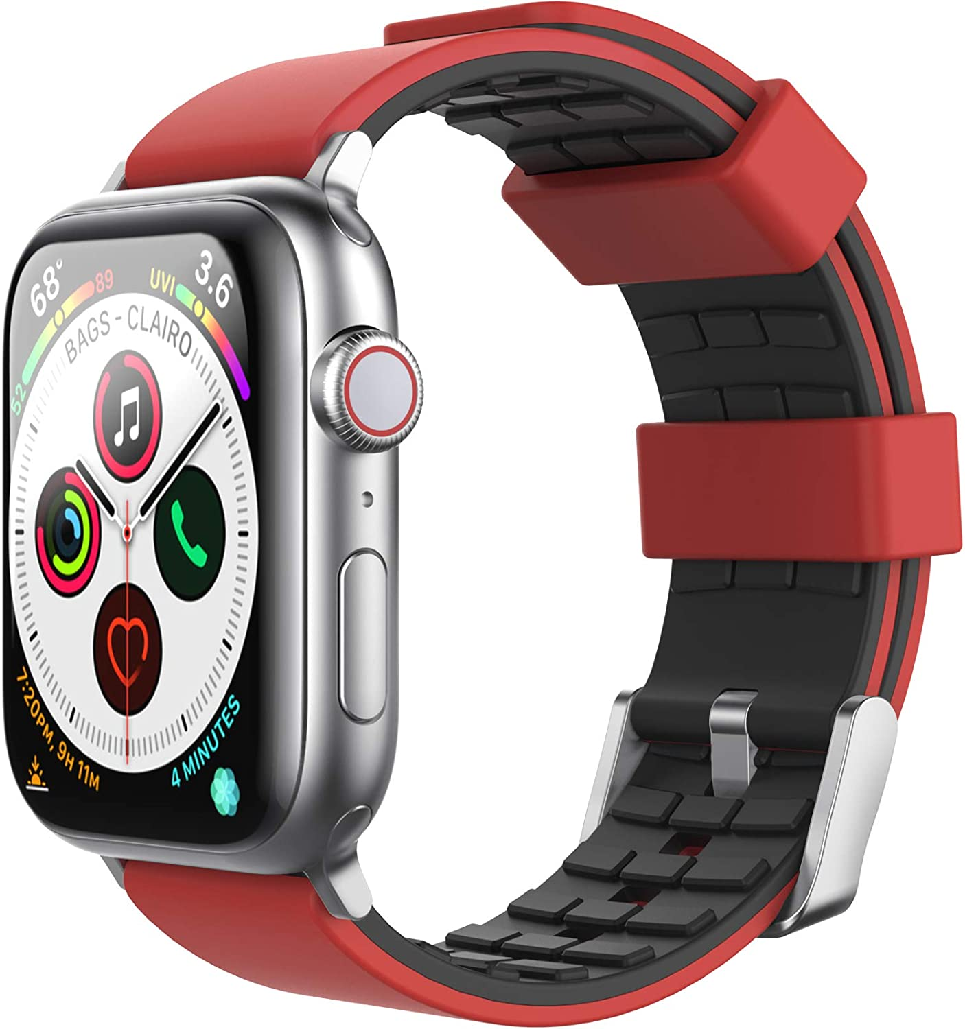 AhaStyle Duotone Band for Apple Watch 44mm 42mm, Breathable Silicone Band Strap Wristband Compatible with Apple Watch Series SE/6/5/4/3/2/1 (Red, Black, 42mm/44mm)