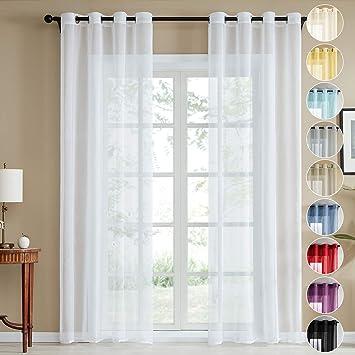Topfinel Voile Vorhänge Leinenstruktur mit Ösen Durchsichtig Einfarbig für  Fenster Wohnzimmer Schlafzimmer Moderne und Elegante Gardine 2er Set je ...
