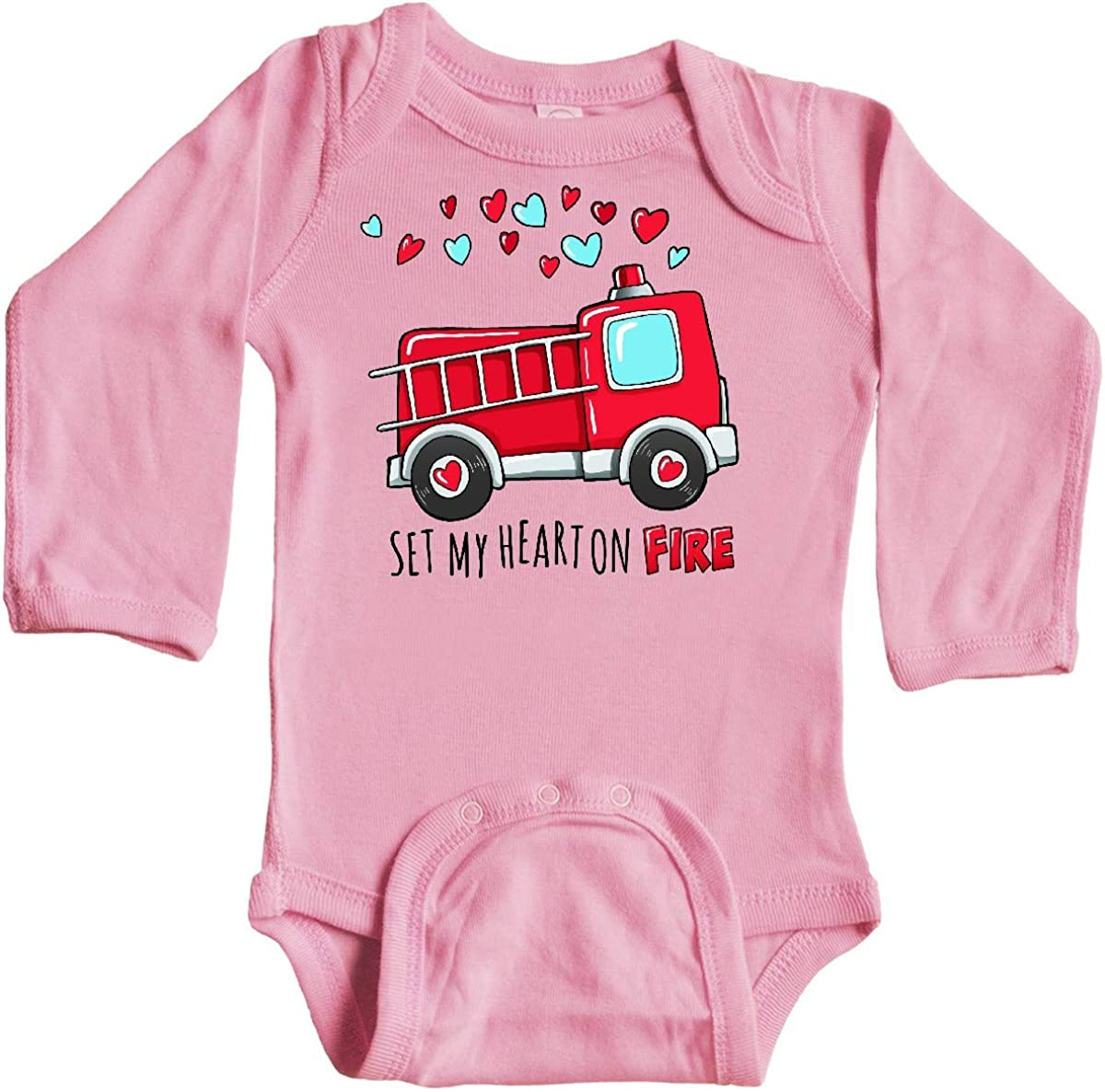 inktastic Set My Heart on Fire Valentine Fire Truck with Long Sleeve Creeper